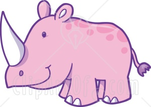 22291-Clipart-Illustration-Of-A-Happy-Pink-Rhinoceros-With-A-Sharp-White-Horn-Standing-In-A-Zoo